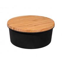 Кутия за съхранение на сладки Capventure Biscuit Lover Carbon black, Ø 19.5 см, бамбук